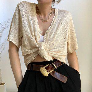 Vintage Ivory Crochet Summer Knit